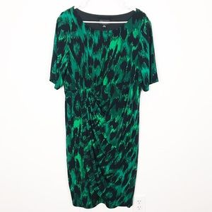 Connected Apparel Faux Wrap Dress Draped Jersey
